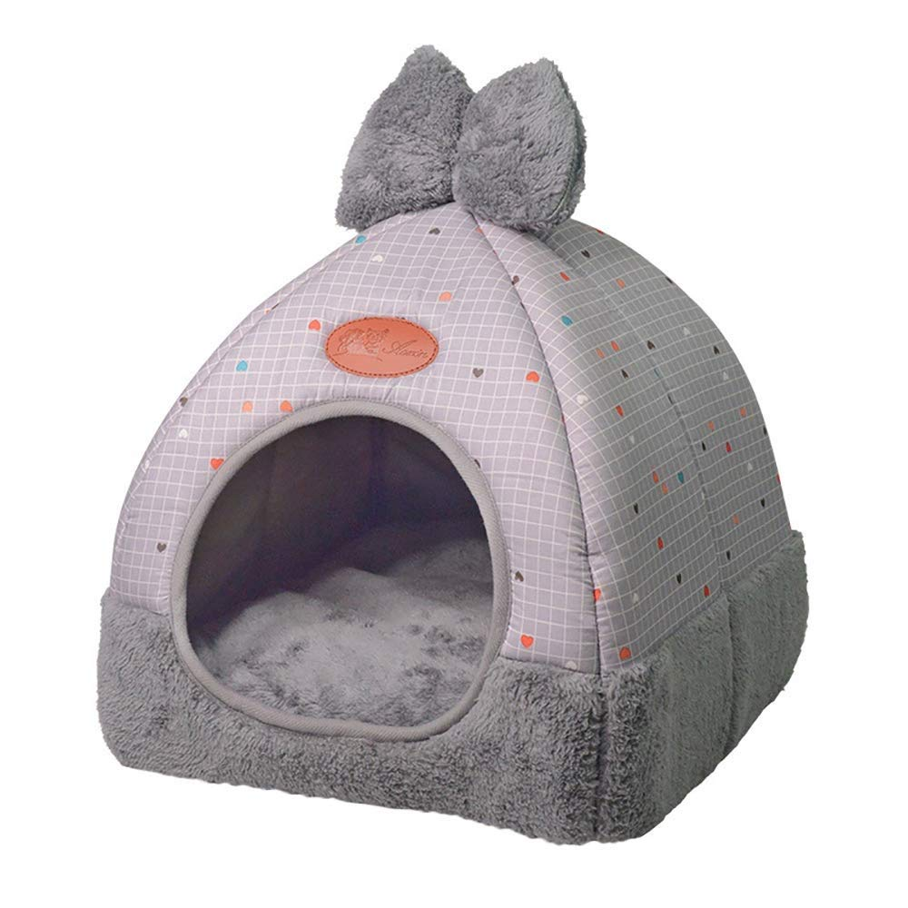 B QYQ Cat Bed House, Cat Tent Bed, 2in 1 SelfWarming Comfortable Triangle Cat Igloo Bed Pet Tent House (color   E)