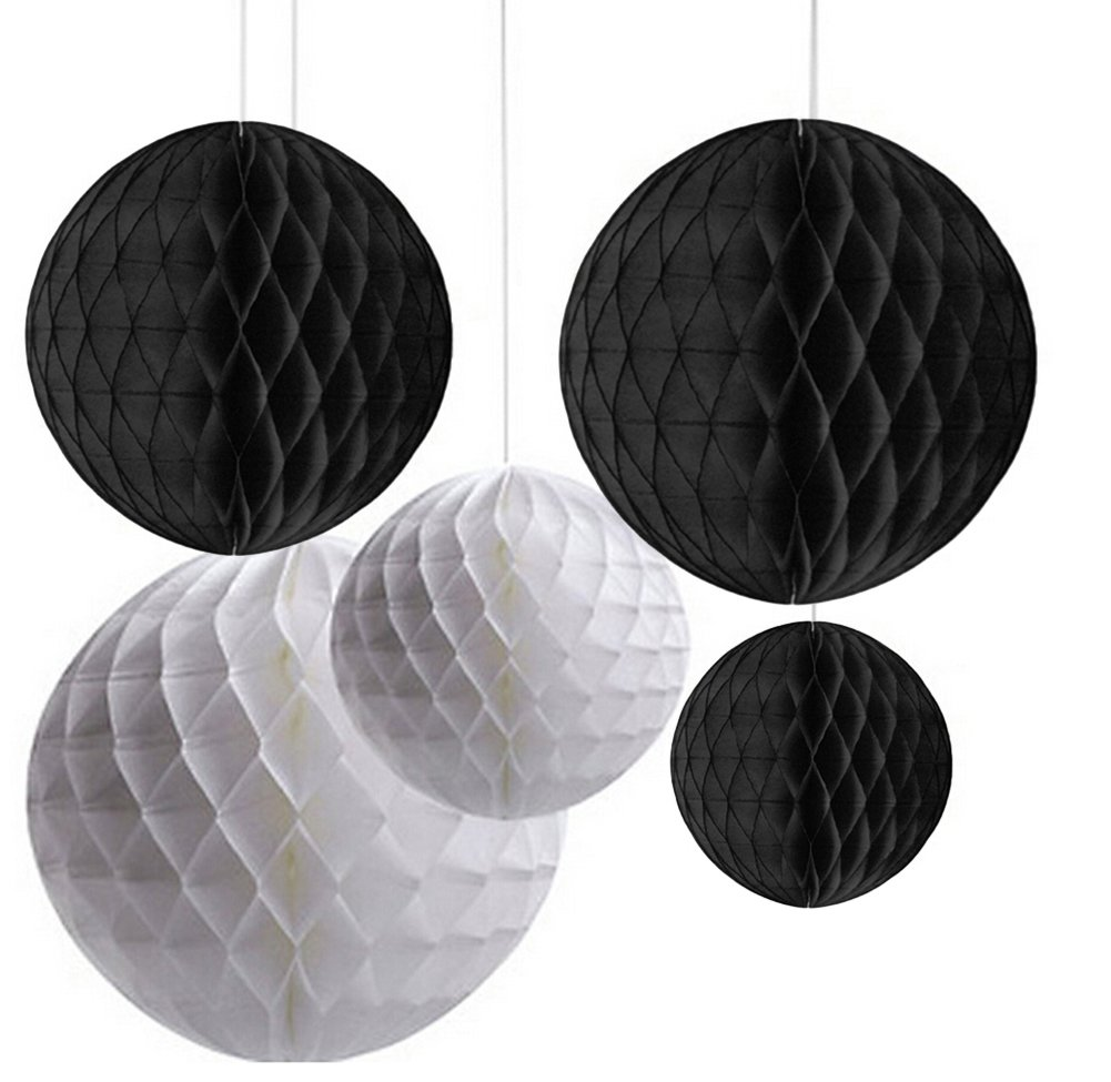 Pack of 6 Mixed Black White Paper Honeycomb Ball Wedding Birthday Halloween Party Hanging Decoration DreammadeStudio