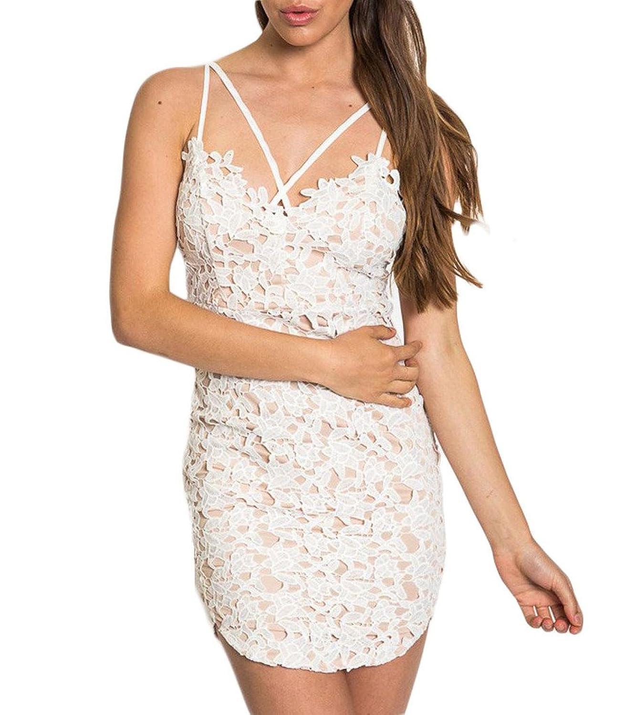 Persun Women's Lace Crochet Lined Spaghetti Strap Bodycon Dress
