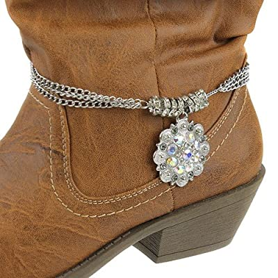 V G S Eternity Fashions Boot Chain ~ Boot Bracelet ~ Crystal Flower Boot Charm Anklet Boot Bracelets for Cowgirl Boots (Boot Charm 018h 74)