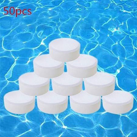 Naugust 50 tabletas de cloro, pastillas de limpieza de piscinas de aguas termales, tabletas de limpieza instantánea para bañera y piscina, limpiador de piscina de uso estacionalmente eficaz