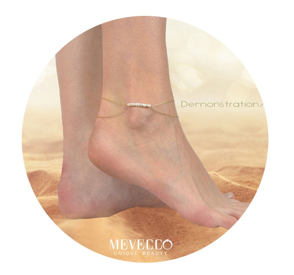 Mevecco Freshwater Pearls Anklet Handmade 18k Gold Plated Dainty Beach Adjustable Double Layered Ankle Bracelet Cute Foot Chain for Women ANK-Layered Pearls