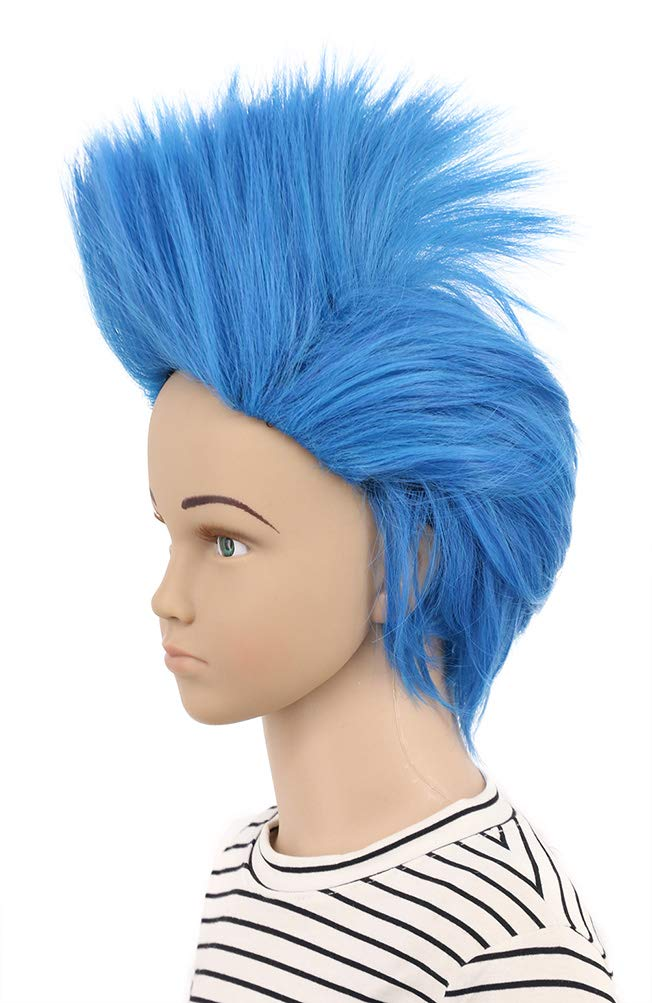 Karlery Kids Child Short Straight Blue Wig Helloween Costume Wig Anime Cosplay Party Wig(Kids)