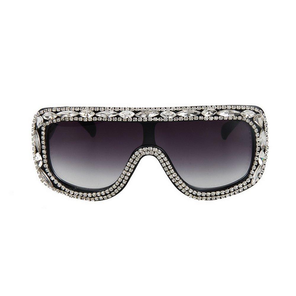 MINCL/Large Oversized Square Shine Style Diamond Women Sunglasses (light black-black, light black-black)