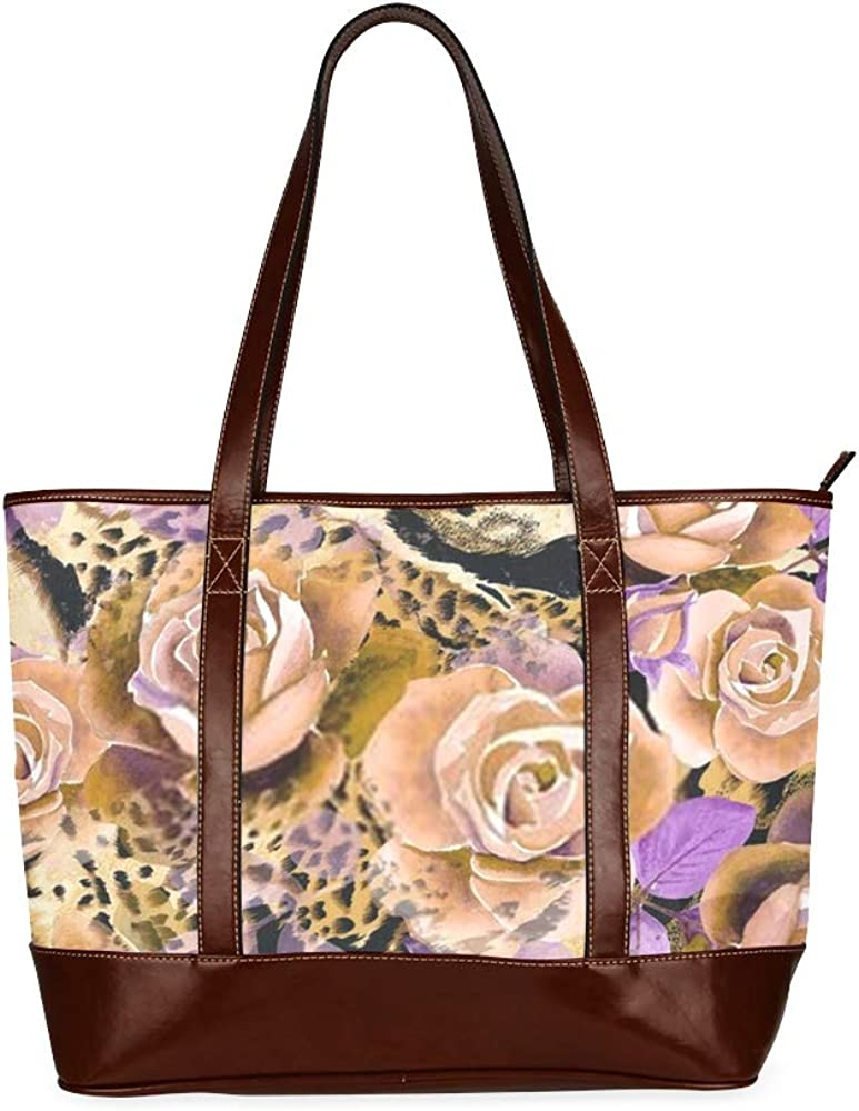 Tote Bags Seamless Pattern Roses Watercolor Leopard Animal Travel Totes Bag Fashion Handbags Shopping Zippered Tote For Women Waterproof Handbag