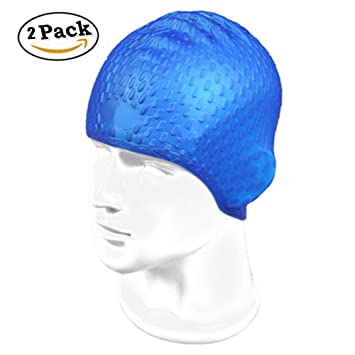 c0db20522af EBRICKON 2Pc Soft Silicon Swimming Cap Adult Waterproof Diving Cover Caps  Flexible Waterdrop Swim Caps Protect hair ear for Swimming Diving(deep blue)