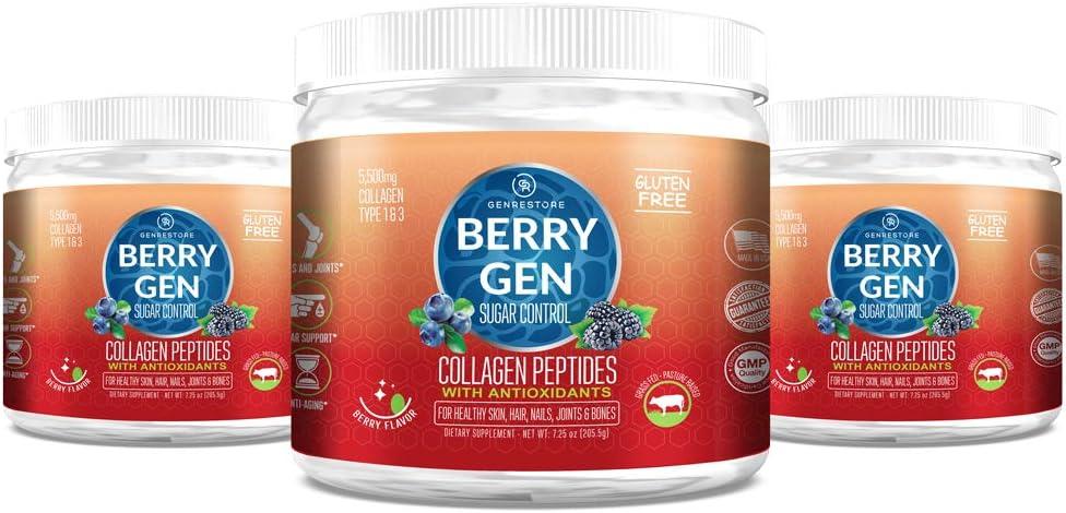 Berry Gen Sugar Control | Healthy Blood Sugar Premium Support Supplement, Joint Support, Anti-inflammatory & Antioxidant | Grass-Fed Collagen Peptides Type 1 & 3 | 205.50 Grams. (3)