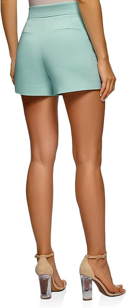 oodji Ultra Mujer Pantalones Cortos de Forma de Trapecio con ...