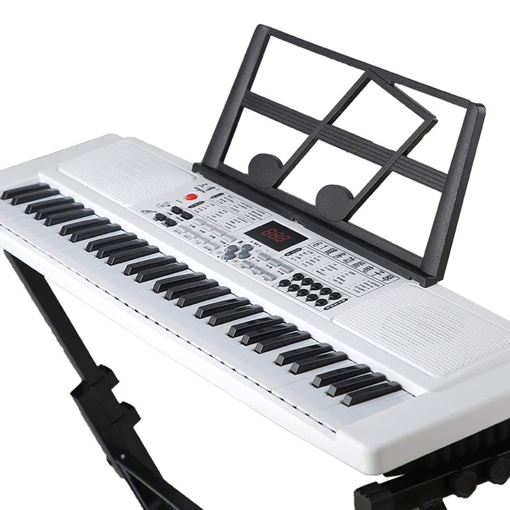 C Five Kids 61 Keys Digital Piano Music Keyboard, Portable Electric Keyboard Piano with Power Supply, Sheet Music Stand and Simply Piano App,White
