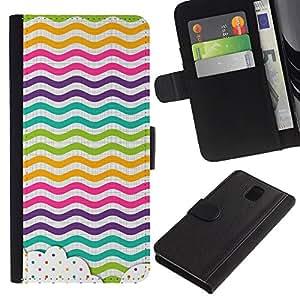 Billetera de Cuero Caso Titular de la tarjeta Carcasa Funda para Samsung Galaxy Note 3 III N9000 N9002 N9005 / Dot Waves Lines Rainbow Color / STRONG