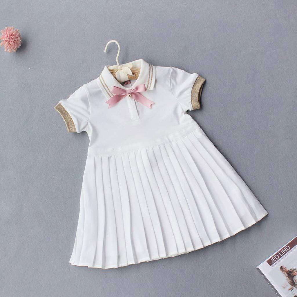 Elegant White Princess Dresses For Toddler Girl,Wesracia Girls Polo Shirt Pleated Short Sleeve Sundress Bow Tie