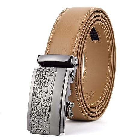 Zhenz Cinturones de Cuero de Hebilla automática Hombres Cinturones ...