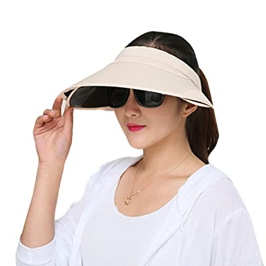 ea4b133bc7a Stofirst Women Girls Summer Wide Large Brim Anti-UV Anti-sun Sun Hat  Breathable Topless Hat Beach Hat with Retractable Visor for Travel Ridding  Outdoor ...