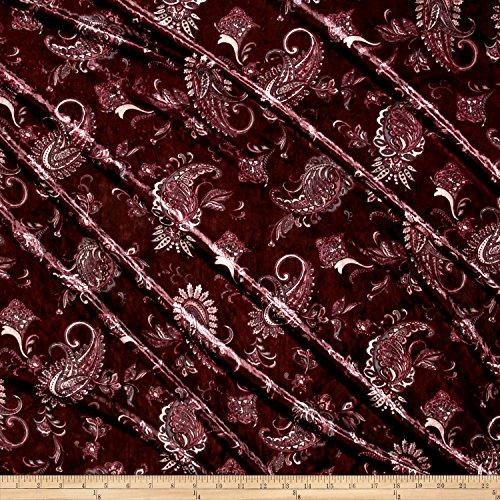 Fabric 0548319 Stretch Crushed Velvet Paisley Magenta Yard