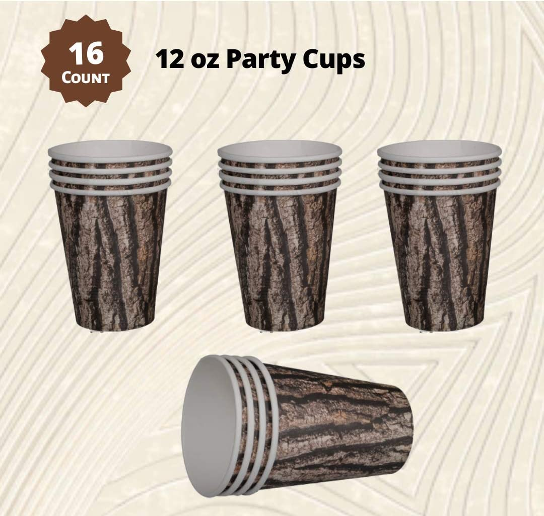 Balloon Cut Timber Natural Wood Pattern Party Tableware Supplies Pack for 16 Cups Napkins Plates
