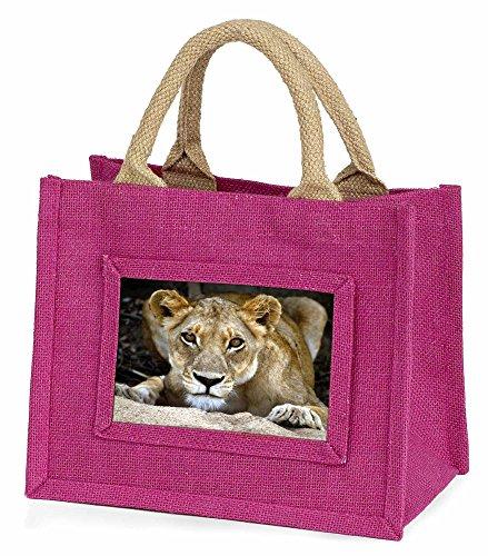 Advanta–Mini Pink Jute Bag Löwin Little Mädchen Kleine Einkaufstasche Weihnachten Geschenk, Jute, pink, 25,5x 21x 2cm