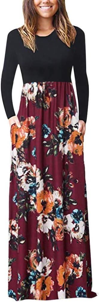Kolylong® sukienka damska, sukienka maxi, slim, wzÓr kwiatowy, długie rękawy, długość do podłogi, długa sukienka z kieszeniami, elegancka bluzka, dekolt w kształcie litery O, d