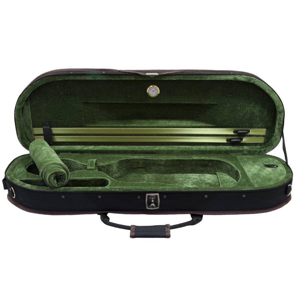 Sky Brand New Luxurious Half-moon Violin Case with Hygrometer, Lightweight
