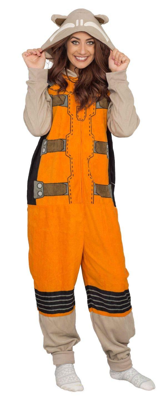 Marvel Women's Rocket Raccoon cos Play 1 Piece Pajama Union Suit, Khaki S/M