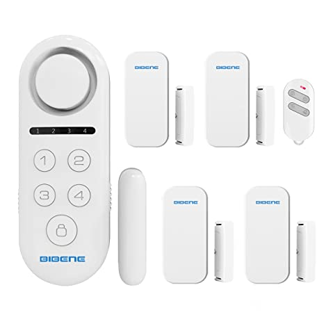 BIBENE Door Alarm System Home Security DIY Kit, 4 Zones, Loud 130dB, 2-in-1 Host, One Button Remote, Expandable 40 Door Window Motion Sensors, ...