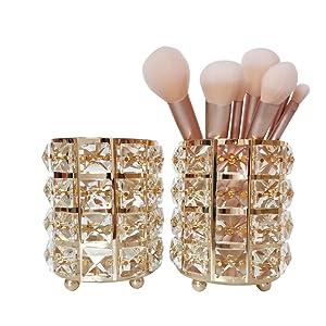 JIARI 2Pcs Set Crystal Makeup Brush Holder Organzier Display Case (Gold)