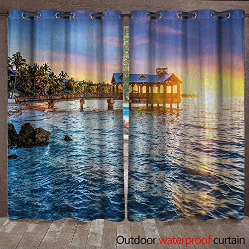 BlountDecor United States Door/Gazebo Curtain Pier at Beach in Key West Florida USA Tropical Summer ParadiseW120 x L108 Pale Blue Yellow Green (Lighted Pier Right)