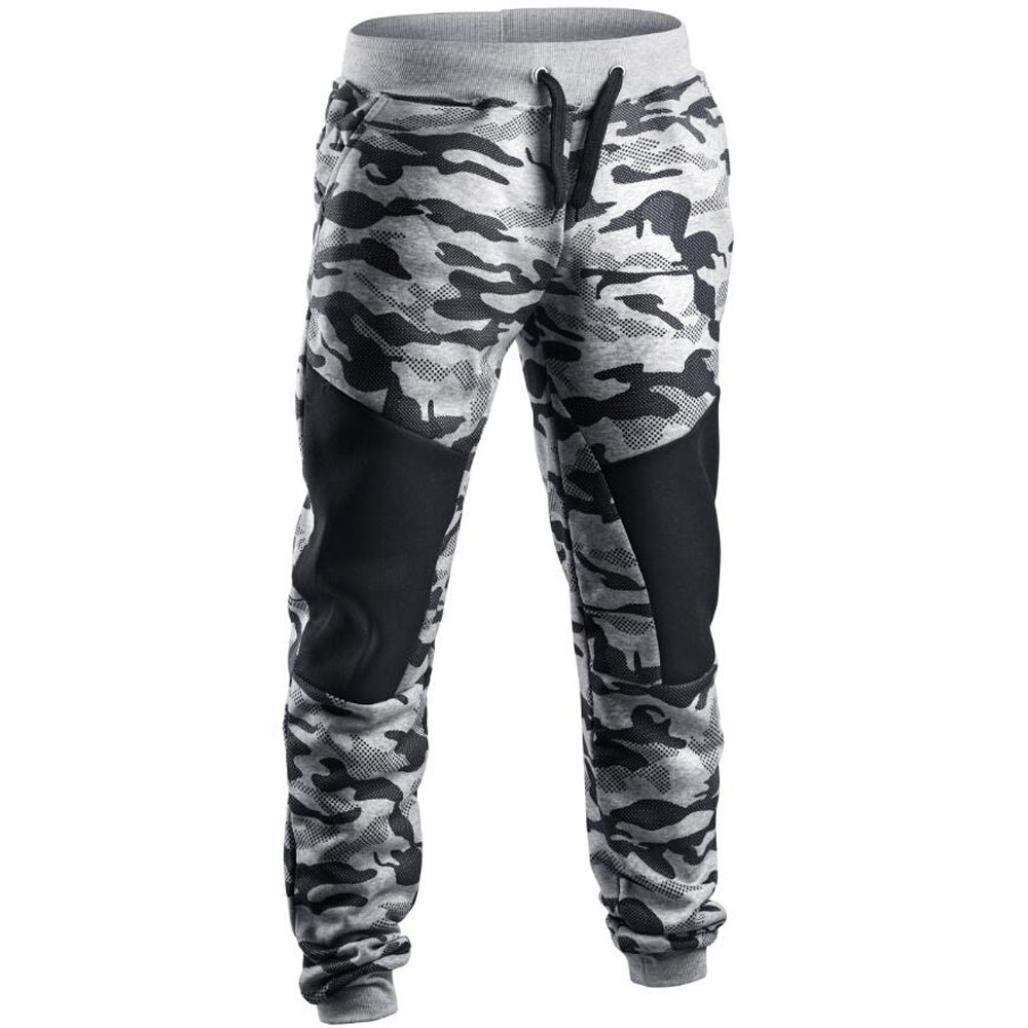 Hombres Pantalones, Manadlian Hombres Pantalones de chándal casual Primavera Pantalones de camuflaje de patchwork Manadlian_Hombres Pantalones