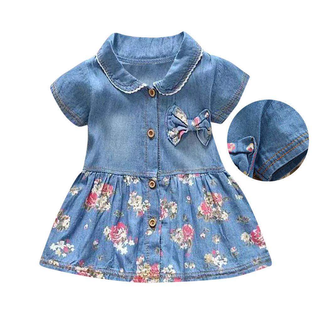 Spring Toddler Bowknot Baby Girls Floral Print Short Sleeve Princess Denim Dress Outfit Sanyalei-US Baby Girls Dress