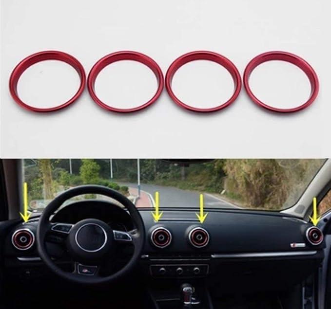 Ffz Parts Alu Ringe Lüftungsregler Lüftung Klima Rahmen Abdeckung Blende In Rot Passend Für A3 S3 Rs3 Auto