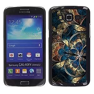 Be Good Phone Accessory // Dura Cáscara cubierta Protectora Caso Carcasa Funda de Protección para Samsung Galaxy Grand 2 SM-G7102 SM-G7105 // Gold Iridescent Blue Mosaique