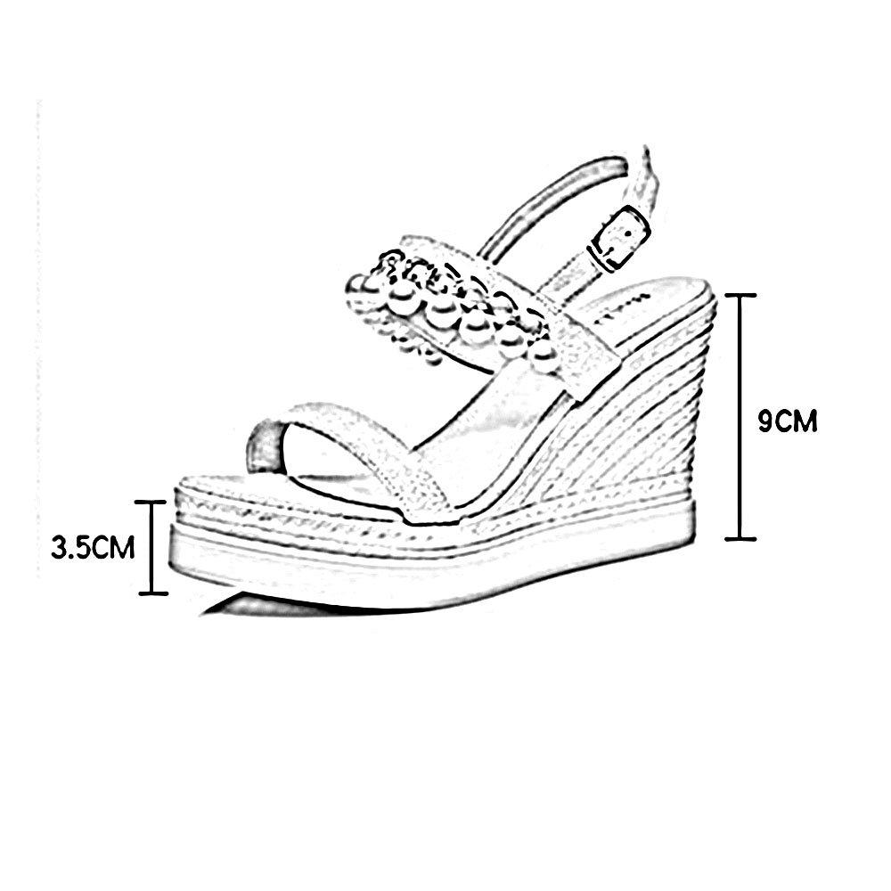 ZHIRONG Mode Frauen High Heel Sandaletten Sommer Offene Böhmen spitze Wasserdichte Plattform Perle Keile Böhmen Offene Dicken Boden Strand Schuhe 9 CM ( Farbe : Grün , größe : EU36/UK3.5/CN35 ) Grün 798c51