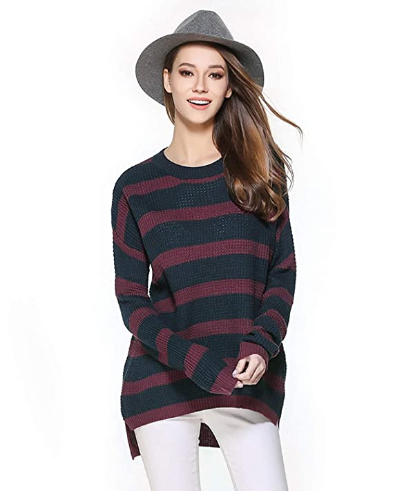 ENIDMIL Women's Casual Long Sleeve Loose Oversized Sweater Knit Pullover (Black and Red, L)