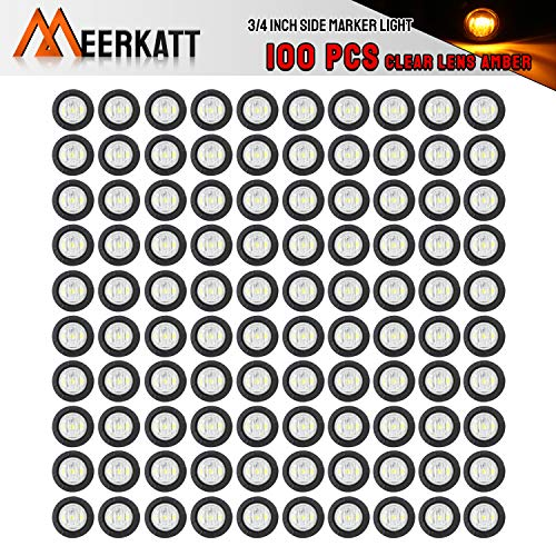 Meerkatt (Pack of 100) 3/4 Inch Mini Round Clear Lens Amber LED Bullet Indicator Signal Extra Bright Clearance Light Side Marker Universal Lamp Grommets Truck Trailer Bus RV Boat Waterproof 12V DC