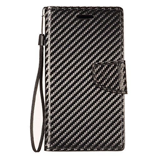 Bemz Wallet Phone Case Compatible with Alcatel Avalon V, TCL LX, idealXTRA, 1X Evolve with Synthetic Leather, Card Slots, Magnetic Flip Cover and Atom Cloth - Carbon Fiber