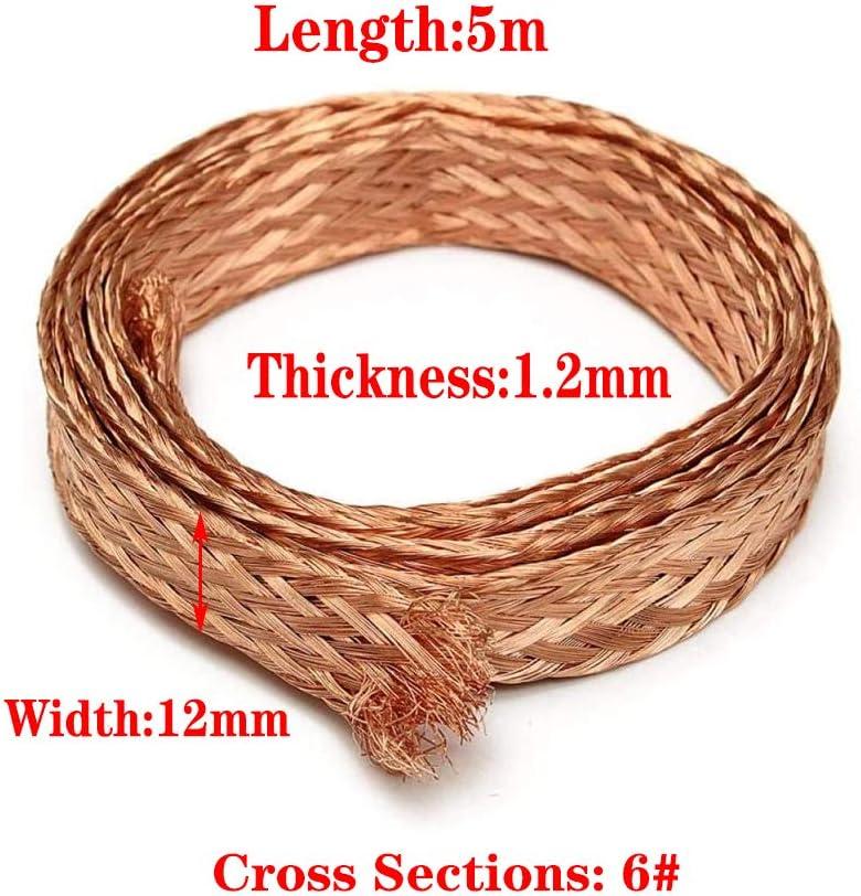 Aviation Harness,5M,1.2mm*12mm Zerobegin Flat Bare Copper Braid Tape,Cable Bare Copper Braid Wire Ground Lead Wear Resistance,for Automobile Harness