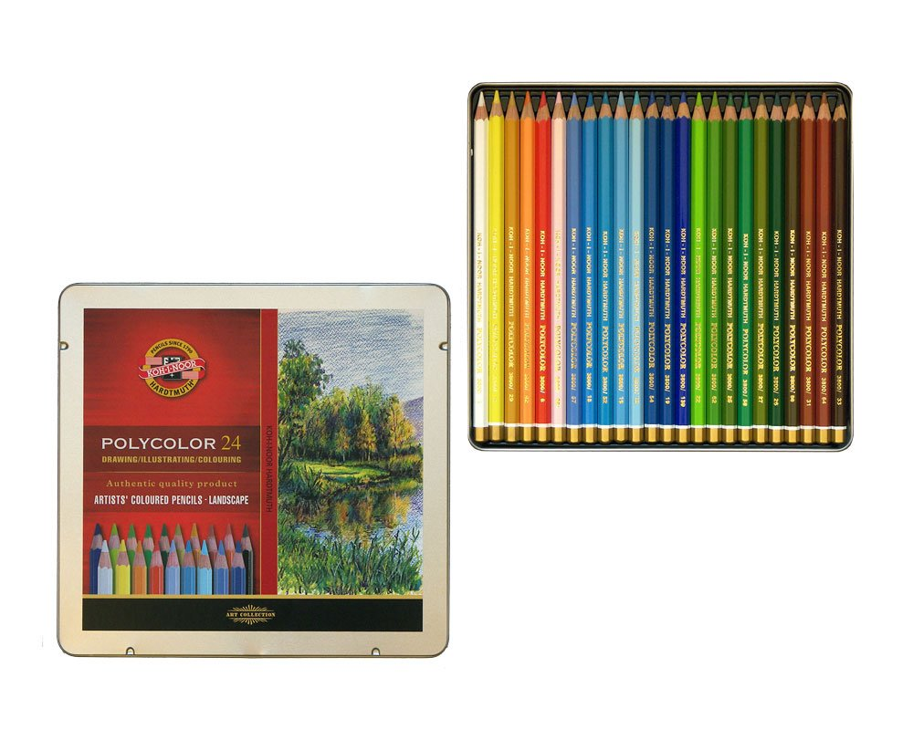 KOH-I-NOOR Set of 24 Polycolour Colour Pencils in a Metal Gift Box - Exclusive Colour Selection for Landscape Painting