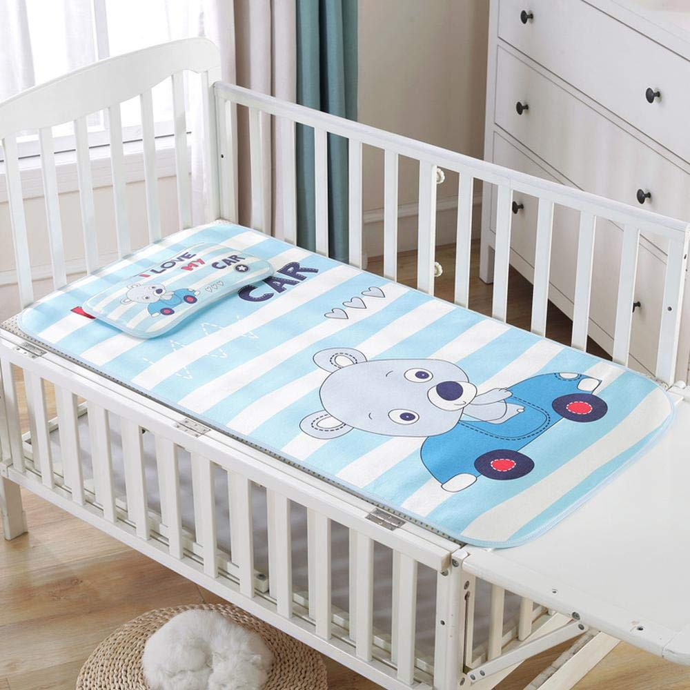 qyw Baby mat Summer Cool Mat Baby Bed Pad with Pillow Set Breathable Ice Silk Sleeping Mattress120 60cm Striped Car-60120cm (mat + Pillow) by qyw
