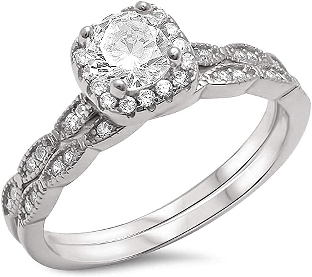 Princess Kylie Clear Cubic Zirconia Square Shape Bridal Set Ring Sterlign Silver