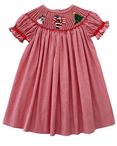 Dresses Infant Bishop (Baby Girls Red Christmas Bishop Dress with Smocked Santa Claus Tree and Snowman)