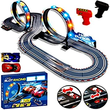 new large remote control light up slot car racing track kids toy childrens game boys xmas