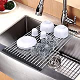 #8: Dish Drying Rack, Packetop Dish Rack Roll Up Dish Drying Rack Over the Sink Dish Drying Rack Roller Drying Rack for Sink Folding Dish Rack Dish Drainers for Kitchen Sink
