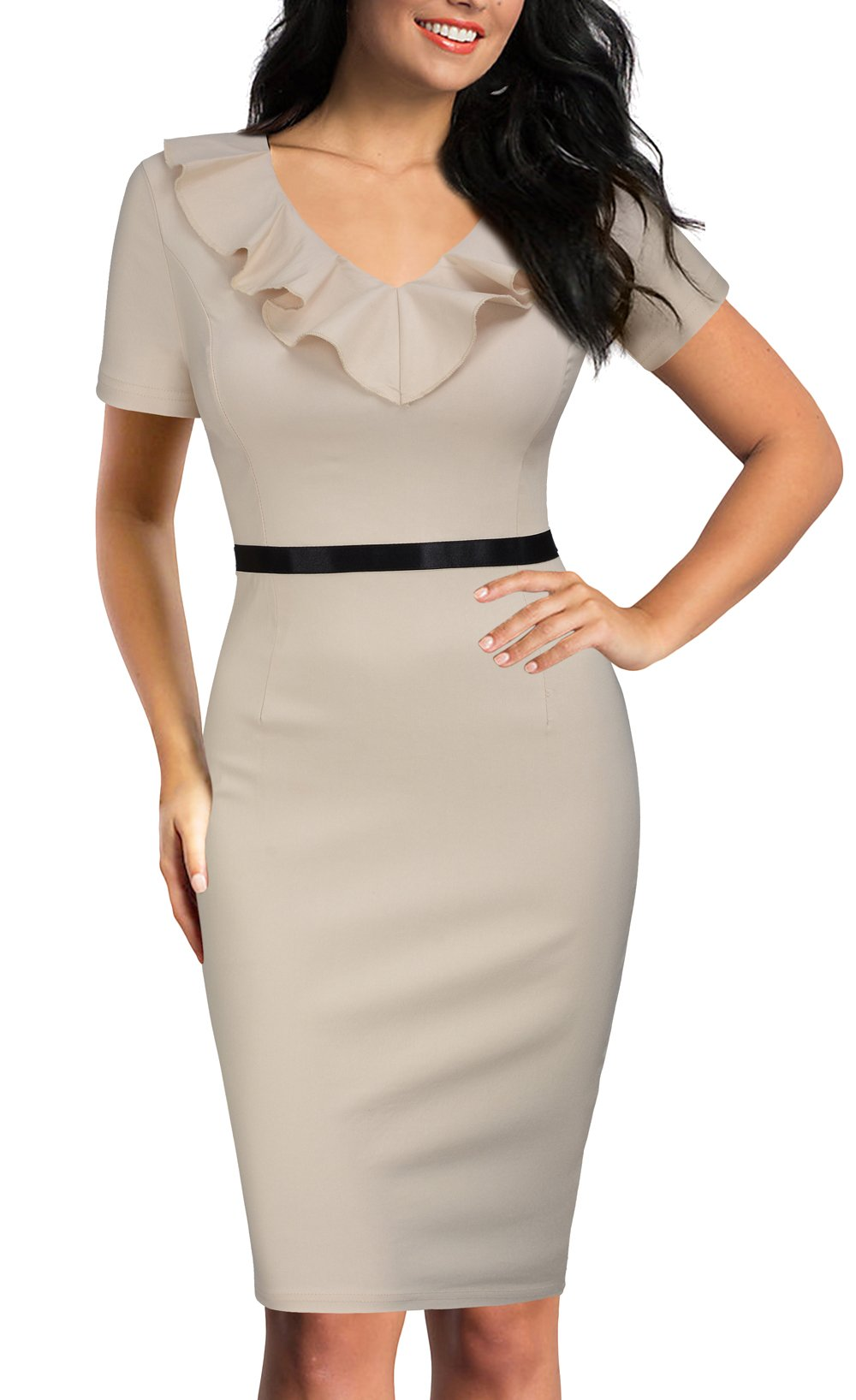 REPHYLLIS Women's Ruffles Short Sleeve Business Cocktail Pencil Dress XL Beige