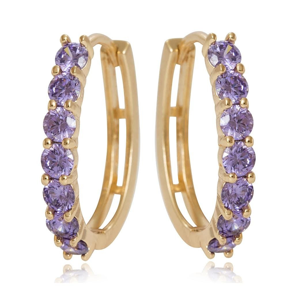 Amazon.com  Olenata Gold CZ Hoop Earrings for Women - Cubic Zirconia Gold  Plated Earrings - Simulated Amethyst Earrings  Jewelry 1c4194352e