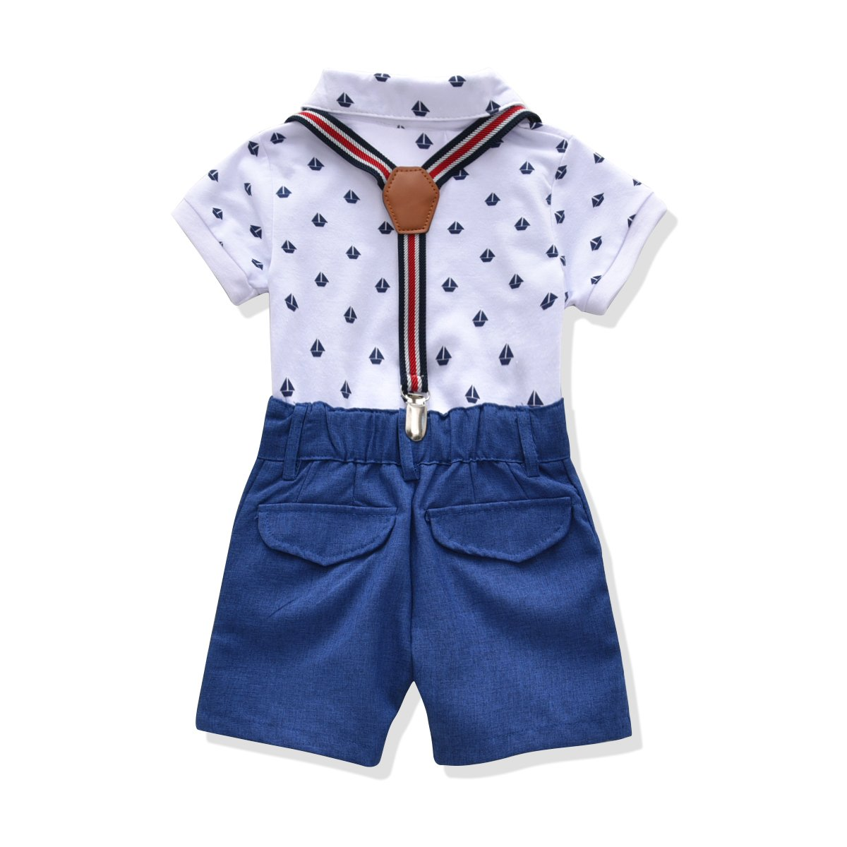 Toddler Boys Clothing Set Gentleman Outfit Bowtie Polo Shirt Bid Shorts Overalls (6 Long, White/Blue) by Miniowl (Image #2)