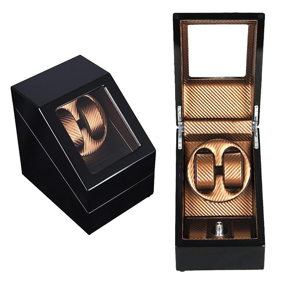 KAIHE-BOX Luxury Carbon Fiber Single 2+2 Watch Winder (2 color ) Display Box Case [100% Handmade] , gold