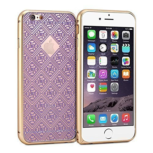 Plum Oriental - iPhone 6 Case, GMYLE Phone Bumper Back Cover for iPhone 6 (4.7 Display) - Metallic Champagne Gold & Plum Purple Oriental Motif Slim Fit Snap On Protective Hard Shell Back Case