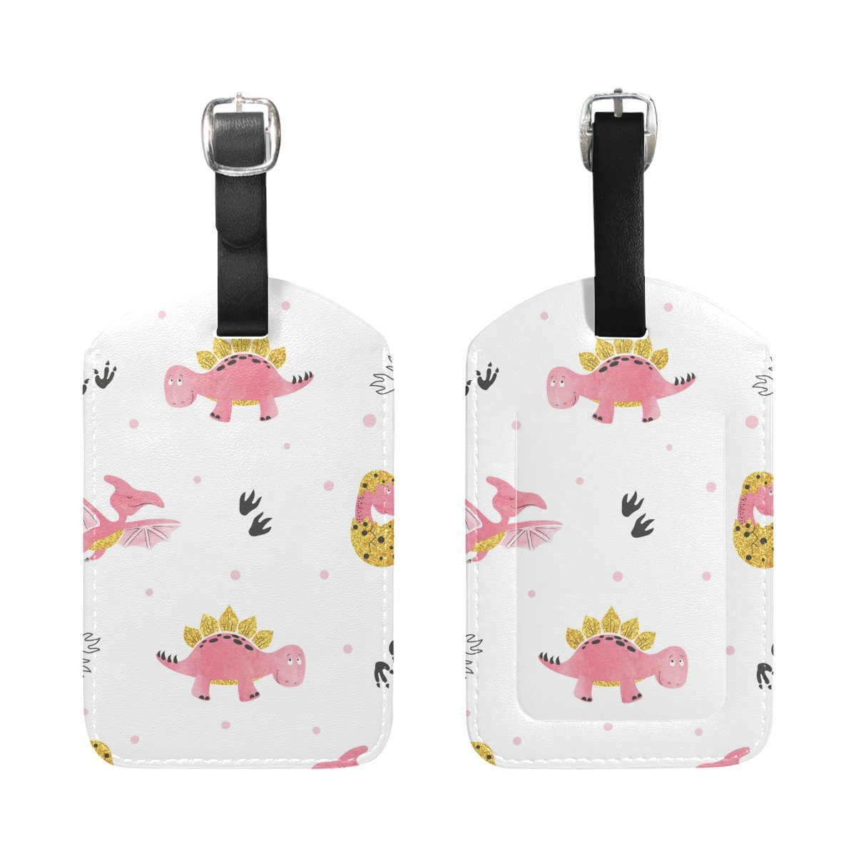 Saobao Travel Luggage Tag Cute Cartoon Dinosaurs PU Leather Baggage Suitcase Travel ID Bag Tag 1Pcs