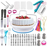 Cake Decorating Supplies Kit with Cake Turntable Stand- Extended 103pcs Baking Supplies Baking Set Includes: Rotating Turntable Stand, Frosting, Piping Bags, Icing Spatula and Smoother, Pastry Tools