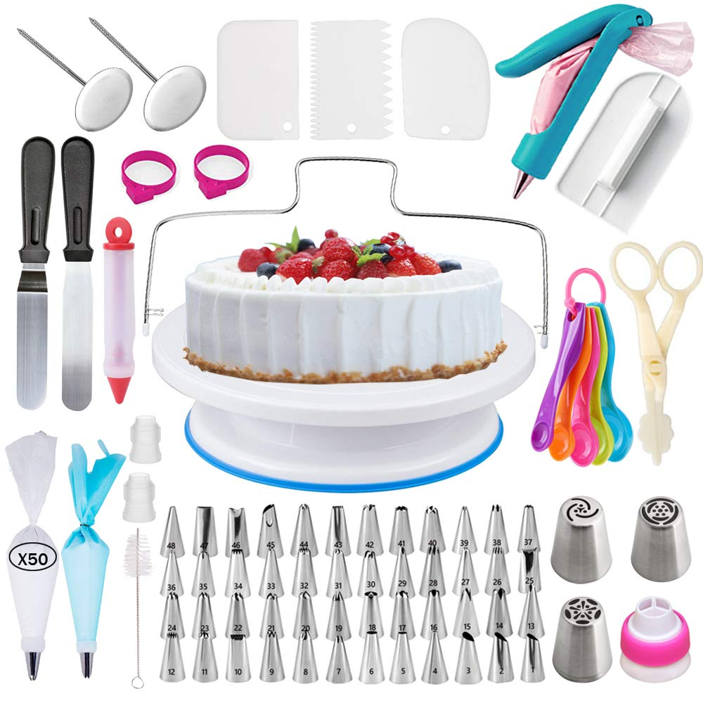 Bajiaoting 68 Pieces Cake Decorating Supplies Kit with 48 Icing Tips, 1 Silicone Pastry Bags, 1 Flower Nails, 2 Reusable Plastic Couplers, 1 cake brush,4 cupcake Baking Supplies Frosting Tools Set