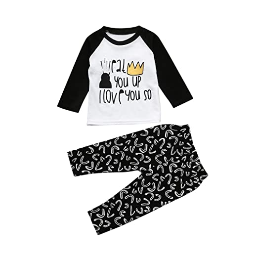 60d21b13c Amazon.com  FORESTIME Newborn Infant Baby Boys Letter T Shirt Tops ...